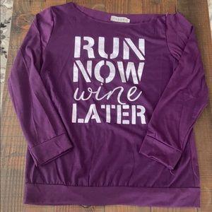 Purple off Shoulder Running Wine workout Shirt